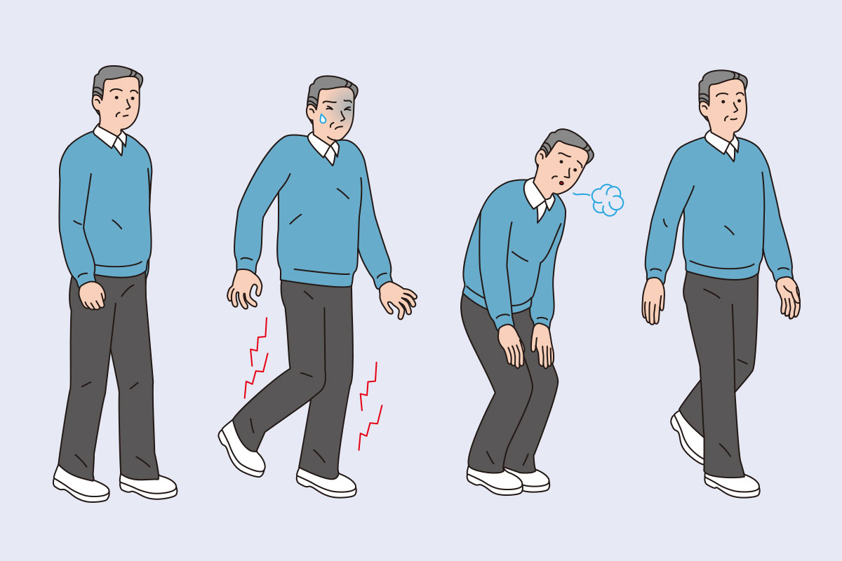 illustration of middle aged man who gets pain in their legs while walking
